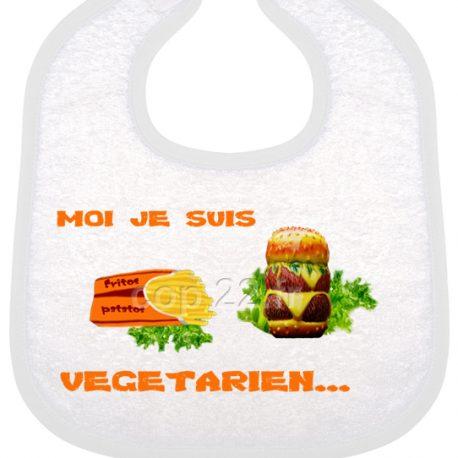 bavoir bébé imprimé moi je suis vegetarien ora