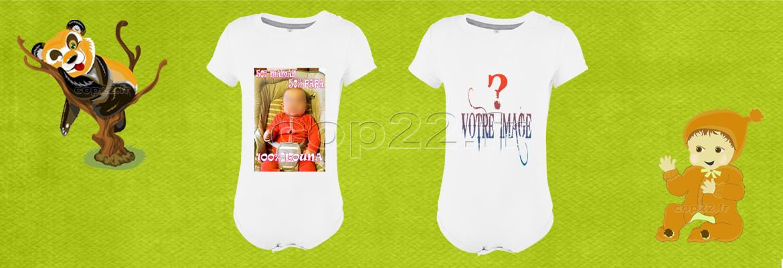 Body bébé sans manches blanc avec votre visuel.