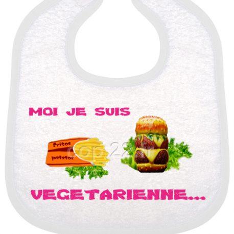 bavoir bébé imprimé moi je suis vegetarienne fus