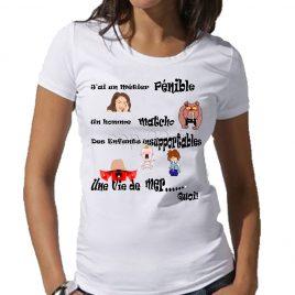 tee-shirt blanc femme imprimé un métier pénible