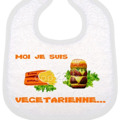bavoir bébé imprimé moi je suis vegetarienne ora