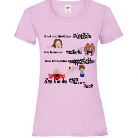 """tee-shirt rose femme  """"femme mécontente"""""""