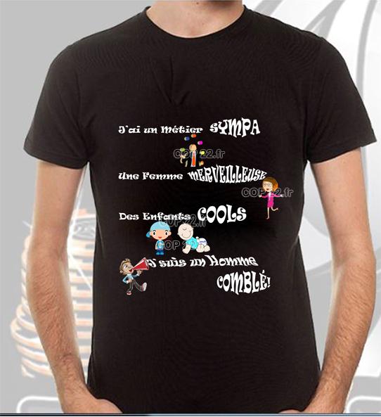 tee shirt imprim homme heureux un tee shirt humoristique. Black Bedroom Furniture Sets. Home Design Ideas